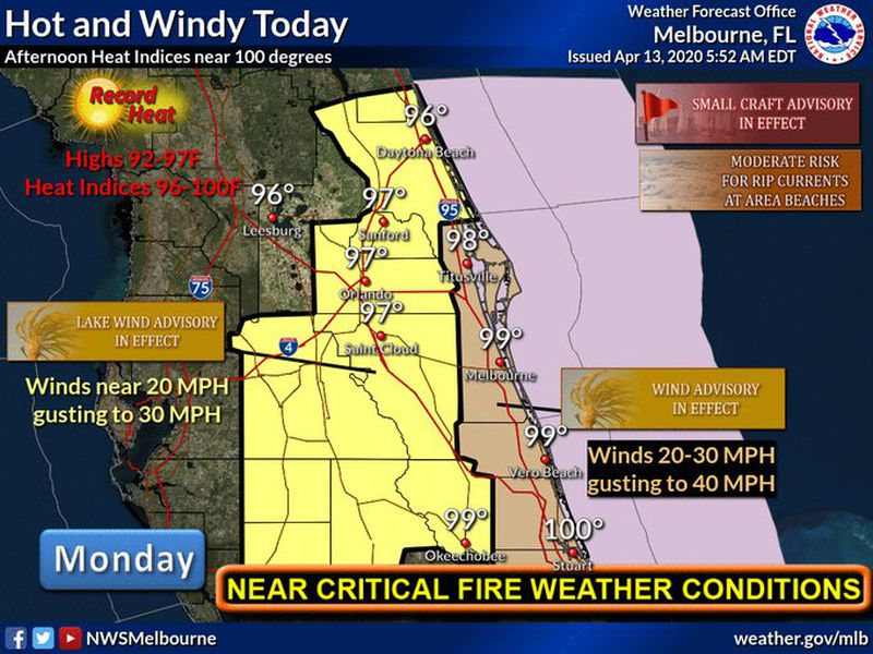 Near record heat, wind advisories in effect throughout Central Florida