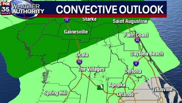 Chance of severe weather considerably down for north Central Florida