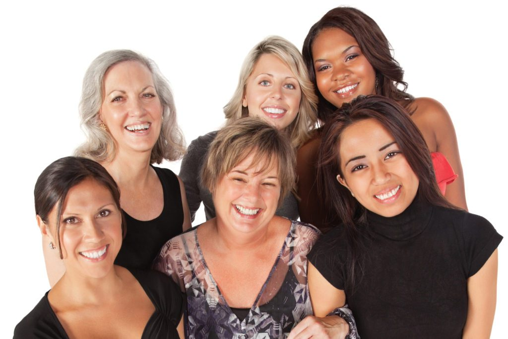 Happy Group of Close Women, Isolated on White